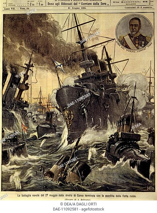 Russo-Japanese War (1904-1905) - Naval battle in the strait of Korea which ended with the defeat of Russian Navy. Cover illustration from La Domenica del...