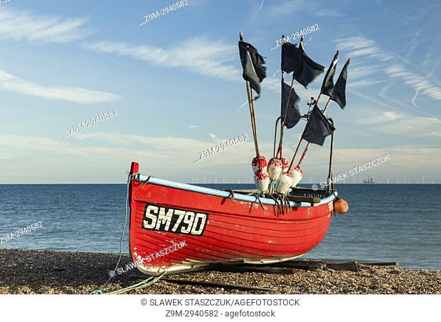 Fishing boat on Worthing beach, West Sussex, England