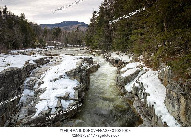 Rocky Gorge Scenic Area along the Swift River in the White Mountains of New Hampshire USA during the winter months. This scenic area os along the Kancamagus...