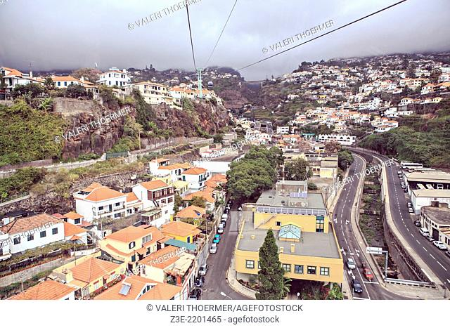 View from Monte cable car to Funchal town on Madeira by night. Funchal, Madeita Island, Portugal