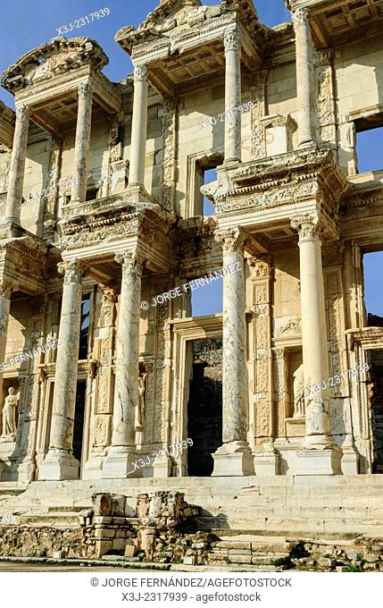 Ancient ruins of the Library of Celsus, Selçuk, Turkey, Asia
