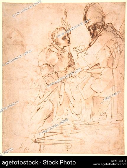 Youth Kneeling before a Prelate (recto); Another Study of a Youth Kneeling before a Prelate (verso). Artist: Guercino (Giovanni Francesco Barbieri) (Italian