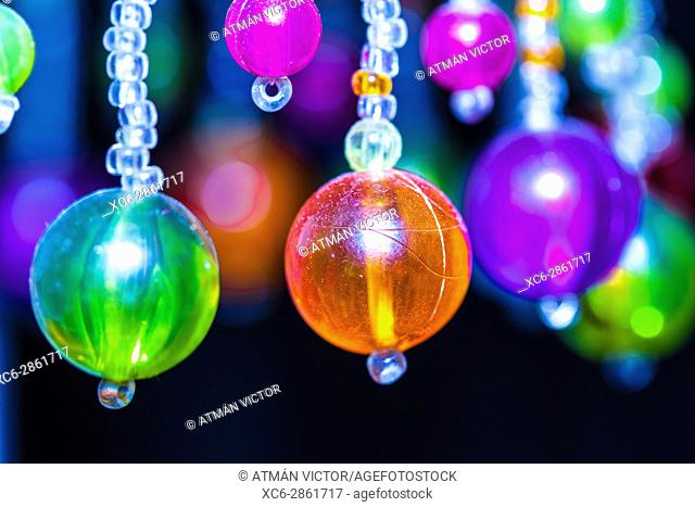 colour trinket balls hanging in the air