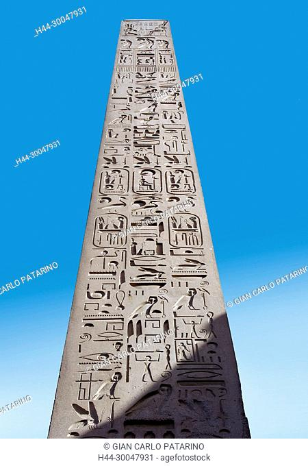 Luxor, Egypt. Temple of Luxor: the wonderful obelisk of Ramses II the Great (1303-1212 b.C.) near the first pylon