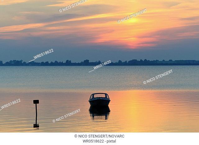 Evening mood at Wieker Bodden, Wiek, Isle of Ruegen, Mecklenburg-Western Pomerania, Germany, Europe