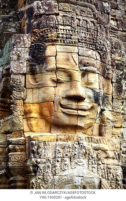 Angkor Temple Complex - one of the 200 stone faces on the Bayon Temple, Angkor Thom, Siem Reap Province, Cambodia, Asia