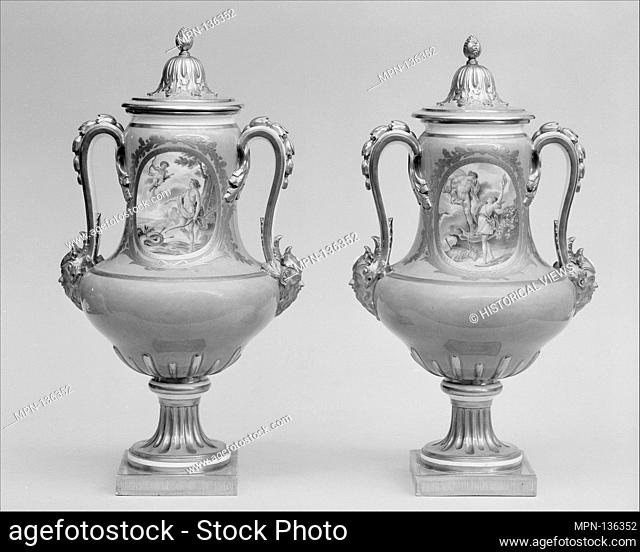 Vase with cover (vase B de 1780) (one of a pair). Factory: Sèvres Manufactory (French, 1740-present); Decorator: Attributed to Charles-Eloi Asselin (active...