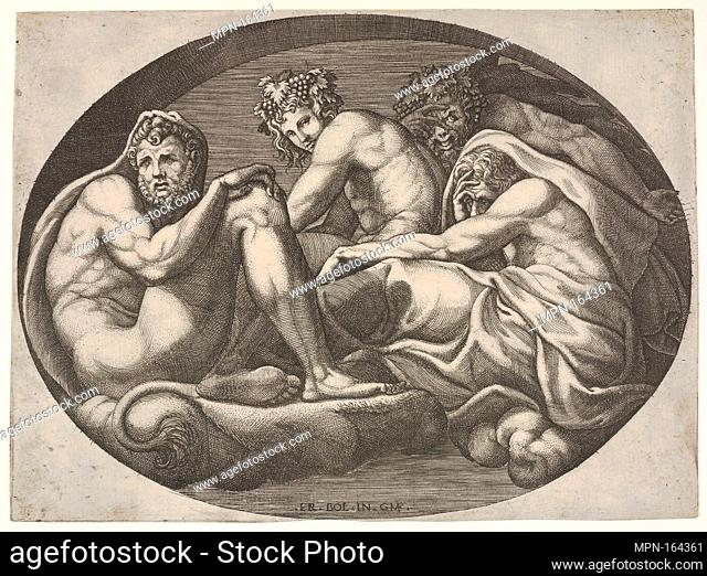 Hercules, Bacchus, Pan, and another god seated on a cloud under an arch, an oval composition, from a series of eight compositions after Francesco Primaticcio's...