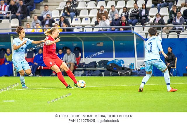 France, Reims, Stade Auguste-Delaune, 11.06.2019, Football - FIFA Women's World Cup - USA - Thailand Photo: vl goal to make it 4: 0 by Samantha Mewis (USA, # 3)