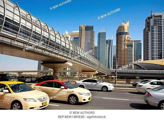 Dubai, the United Arab Emirates. Sheikh Zayed Road, main artery of the city, the tunnel leading to the underground