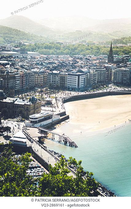 View of Concha beach from Monte Urgull. Donostia - San Sebastian, Basque, Spain. San Sebastian, Basque Country, Spain
