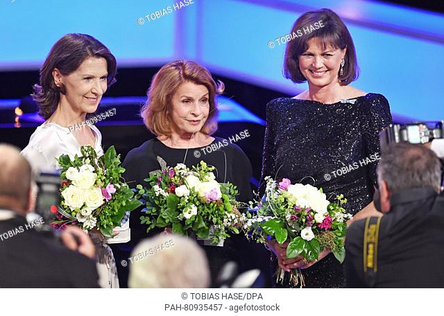 Award winners (L-R) Antonia Rados, Senta Berger and Ilse Aigner, media minister of the German state Bavaria, pose after the Bavarian Television Award ceremony...