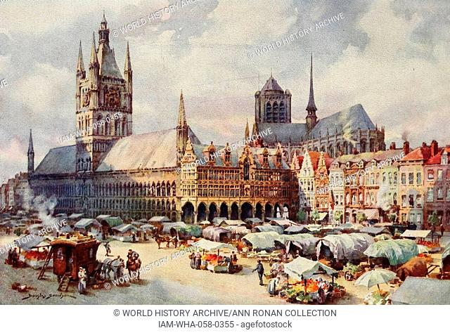 The Market Place, (Grote Markt) in Leper (Ypres) Belgium. The market place of Ypres, now called by its Flemish name Leper