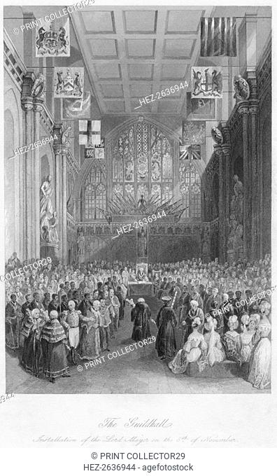 'The Guildhall. Installation of the Lord Mayor on the 8th of November', c1841. Artist: Henry Melville