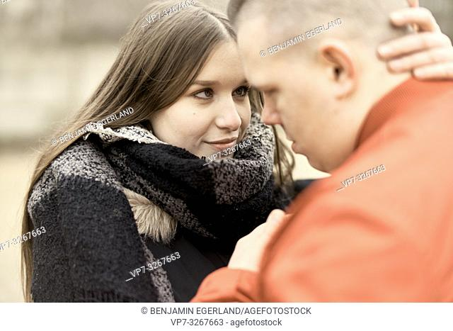 couple looking at each other, outdoors in Cottbus, Brandenburg, Germany