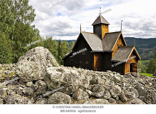 Twelfth-century stave church in Uvdal, Norway, Scandinavia, Europe