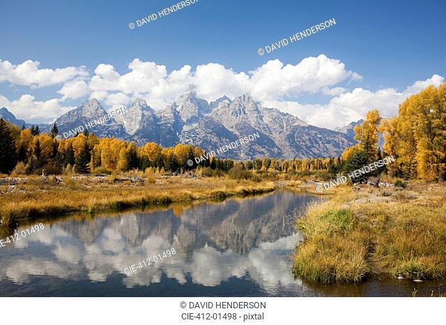 Mountains and landscape reflected in still river