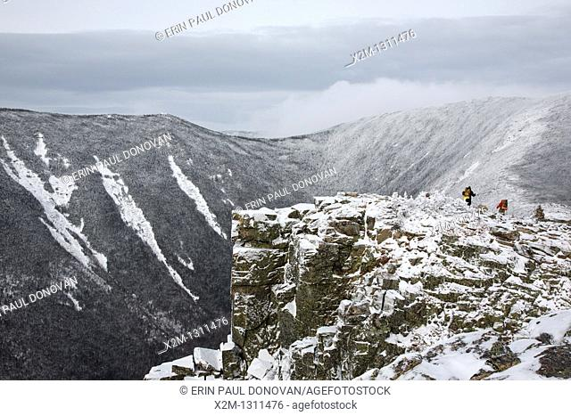 Pemigewasset Wilderness - Backcountry campers travel along the Bondcliff Trail on the summit of Bondcliff Mountain during the winter months in the White...
