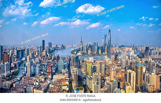 China, Shanghai City, Huangpu river, Pudong District and downtown Shanghai panorama