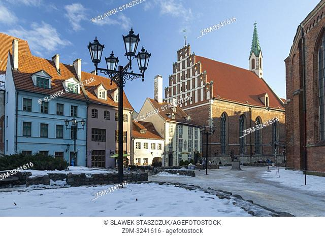 Winter morning in Riga old town, Latvia