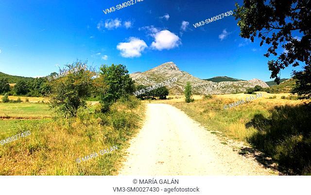 Path and mountain landscape, panoramic view. Villafria de la Peña, Palencia province, Castilla Leon, Spain