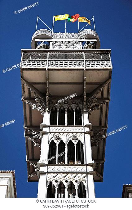 The Gothic revival style Santa Justa Lift Elevador de Santa Justa also known as the Carmo Lift Elevador do Carmo in the Chiado / Baixa district of Lisbon Lisboa