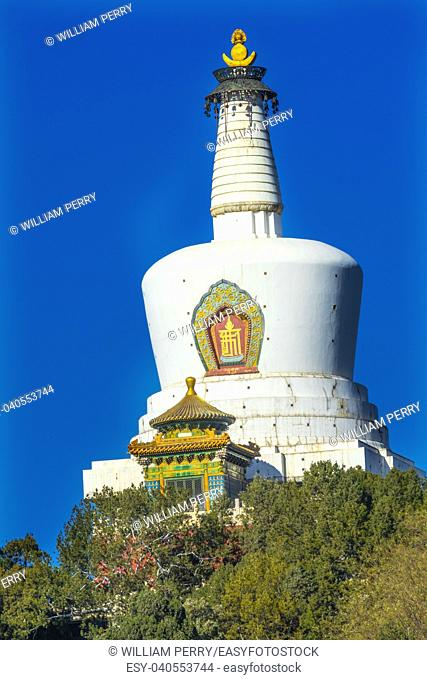 Buddhist White Stupa Dagoba Colorful Memorial Beihai Park Jade Flower Island Beijing China Beihai Park is a public park, which was created in 1000AD