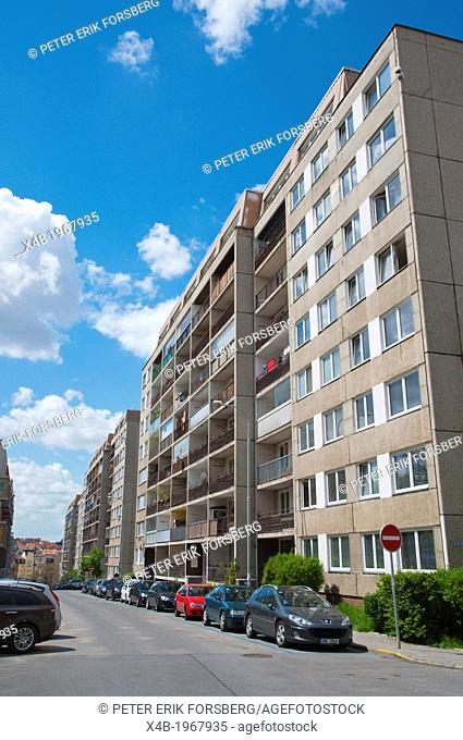 Socialist era panelak the panel housing Zizkov district Prague city Czech Republic Europe