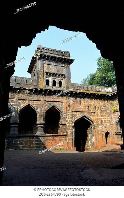 View of Teen Darwaja from a door arch. Panhala Fort, Kolhapur, Maharashtra, India