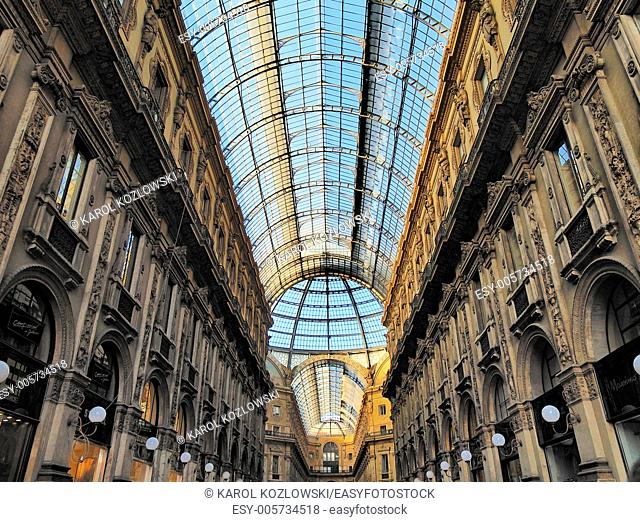 Galleria Vittorio Emanuele II - famous expensive shopping centre in Milan, Lombardy, Italy