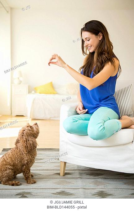 Caucasian woman training pet dog in living room
