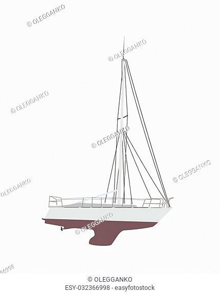 Water Boat, Sailboat. Vector Illustration. EPS10