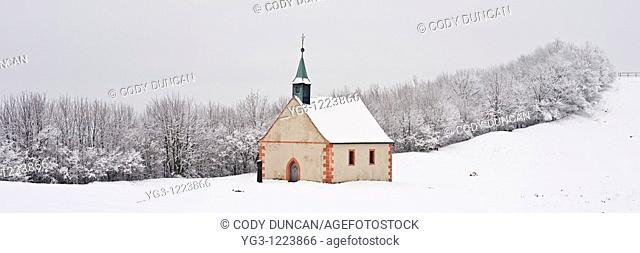 Walberla hill and Walpurgis Chapel in winter, Franconia, Bavaria, Germany