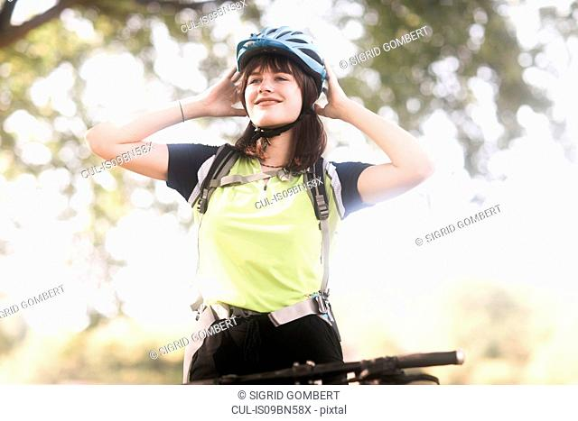 Biker stopping in park