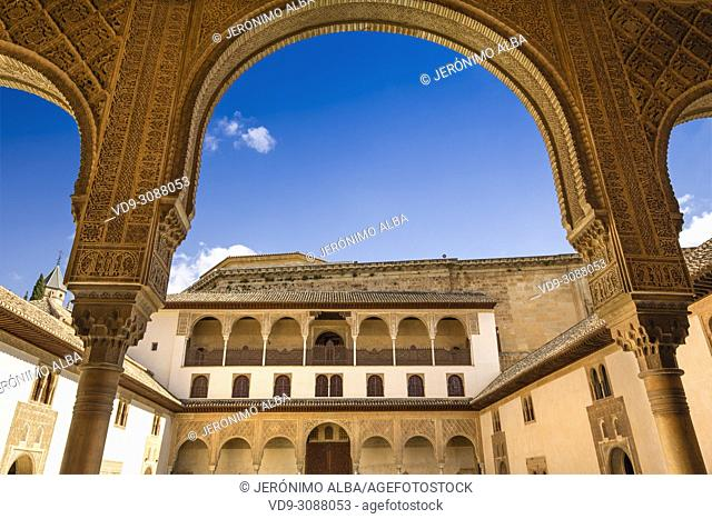 Patio de los Arrayanes. Courtyard of the Myrtles, Comares Palace, Nazaries palaces. Alhambra, UNESCO World Heritage Site. Granada City