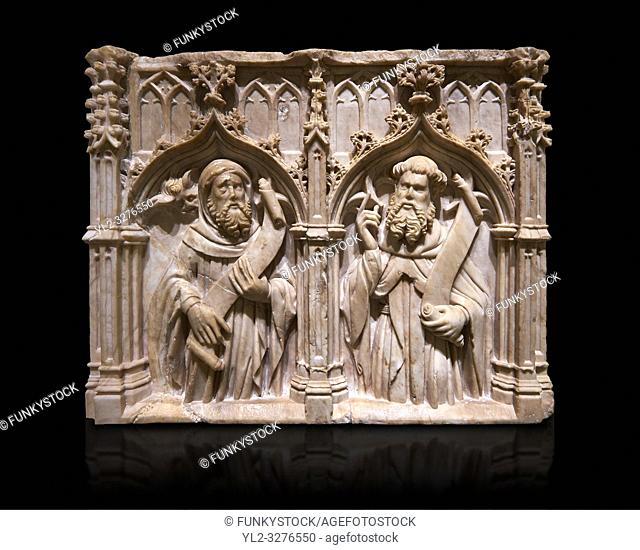 Gothic alabaster relief sculpture of two profits by Pere Oller, circa 1415, from the convent del Carme, Girona, Spain. . National Museum of Catalan Art