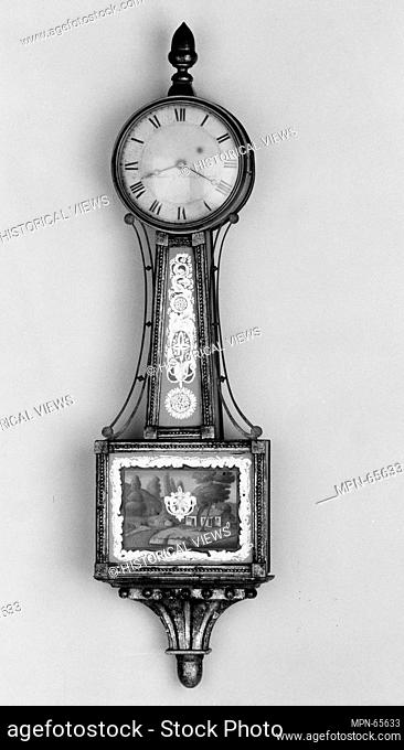 Banjo clock. Maker: Curtis and Dunning (1816-ca. 1833); Date: 1813-16; Geography: Made in Concord, Massachusetts, United States; Culture: American; Medium:...