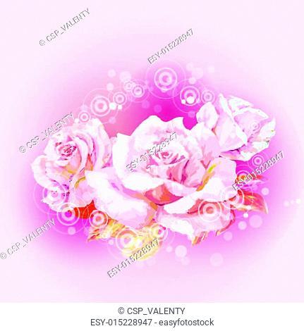 Rose. Summer flowers invitation tem