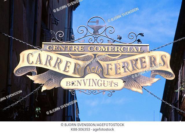 Street sign. Vilafranca del Penedes. Barcelona province, Spain
