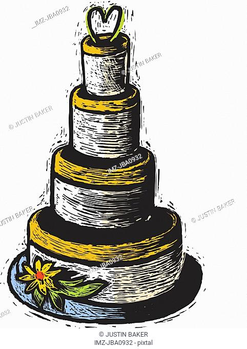 A four-tiered wedding cake