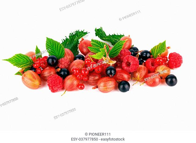 mix of different berries on white