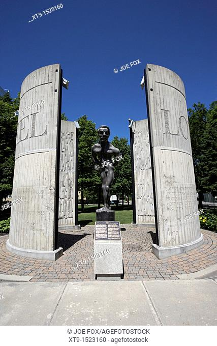 controversial tortures sculpture of louis riel now situated at the college universitaire de saint-boniface french quarter winnipeg manitoba canada