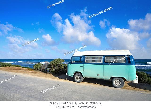 Tulum Caribbean beach with van in Riviera Maya of Mayan Mexico