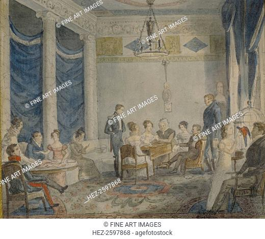 The Salon of Olenin Family in Priyutino. Found in the collection of the Institut of Russian Literature IRLI (Pushkin-House), St Petersburg