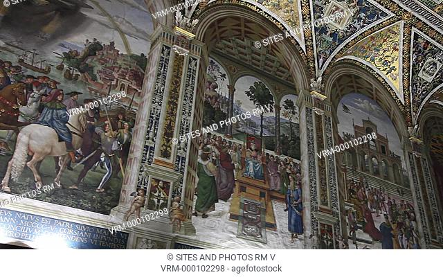 Interior, LA, PAN, view of the Piccolomini Library, constructed circa 1492, and commissioned by Cardinal Piccolomini, later known as Pope Pius III