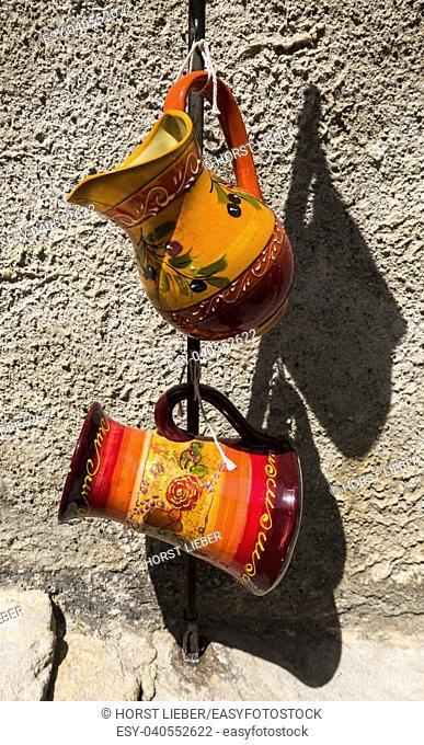 Ceramics in Baux-de-Provence. Bouches du Rhone, Provence, France, Europe