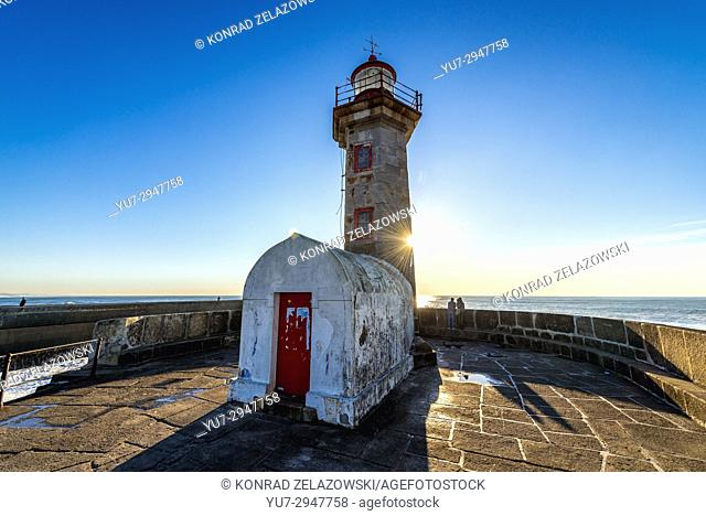 Felgueiras Lighthouse on a breakwater of Foz do Douro district of Porto city, second largest city in Portugal