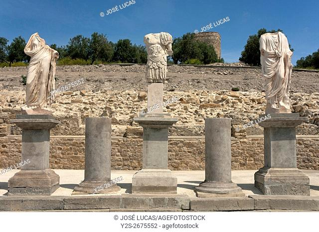 Torreparedones Archaeological Park, statues in the forum-1st century, Baena, Cordoba province, region of Andalusia, Spain, Europe