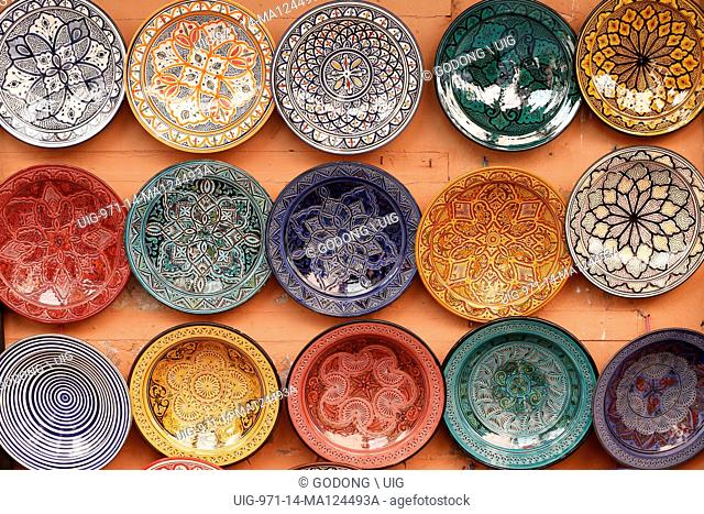 Colorful Ceramics on sale at a souk in Marrakech