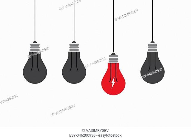 Abstract flat design lightbulbs. Eureka concept. EPS10 vector